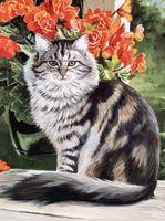 """Алмазная вышивка-мозаика """"Кот в саду"""""""