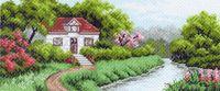 """Канва с нанесенным рисунком """"Домик в саду"""""""