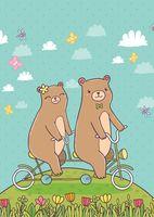 """Открытка """"Мишки на велосипеде"""""""