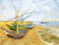"Вышивка крестом ""Рыбацкие лодки на пляже"" (300х390 мм)"