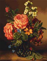 """Вышивка крестом """"Ваза с розами и цветами"""" (340х410 мм)"""