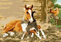 """Канва с нанесенным рисунком """"Конь и кот"""""""