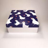 """Подарочная коробка """"Весёлые альпаки"""" (19х19x7,5 см)"""