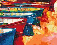 """Картина по номерам """"Лодки у причала"""" (400х500 мм)"""