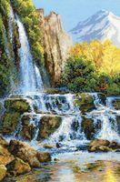 """Вышивка крестом """"Пейзаж с водопадом"""""""