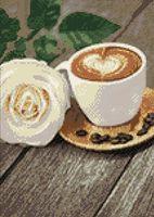 """Алмазная вышивка-мозаика """"Кофе и роза"""" (270х380 мм)"""