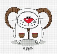 """Вышивка крестом """"Кошачий гороскоп. Козерог"""" (130x120 мм)"""