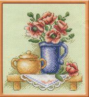 """Вышивка крестом """"Цветы в кувшине"""" (135х135 мм)"""