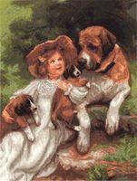 """Вышивка крестом """"Девочка с собаками"""""""