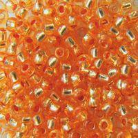Бисер прозрачный с серебристым центром №08289 (оранжевый; 10/0)