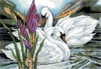 """Канва с нанесенным рисунком """"Лебеди"""""""