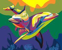 """Картина по номерам """"Радужные дельфины"""" (400х500 мм)"""