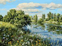 """Картина по номерам """"Летний день у реки"""" (300х400 мм)"""