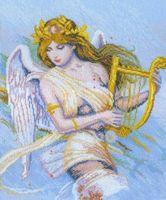 """Вышивка крестом """"Ангел с арфой"""""""
