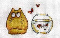 """Вышивка крестом """"Жёлтый кот с аквариумом"""" (110x110 мм)"""