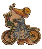 """Значок деревянный """"Лиса на велосипеде"""""""