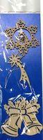 Набор украшений новогодних деревянных (снежинка с подвеской, падающая звезда, колокольчики; арт. Н-33)