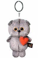 """Мягкая игрушка-брелок """"Кот Басик с сердечком"""" (12 см)"""