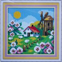 """Алмазная вышивка-мозаика """"Деревенская мельница. Весна"""" (150х150 мм)"""