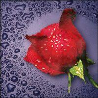 """Алмазная вышивка-мозаика """"Красная роза"""" (250х250 мм)"""