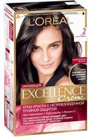 """Крем-краска для волос """"Excellence"""" (тон: 2, темно-коричневый)"""