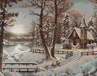 """Вышивка крестом """"Зимний пейзаж"""" (375х280 мм)"""