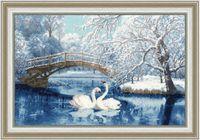 "Вышивка крестом ""Белые лебеди"" (274х419 мм)"