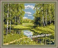 "Картина по номерам ""Березовый мостик"" (400х500 мм)"