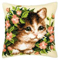 "Вышивка крестом ""Подушка. Котенок в цветах"" (400х400 мм)"