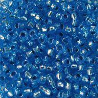 Бисер прозрачный с серебристым центром №08236 (синий; 10/0)