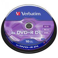 Диск DVD+R Double Layer 8.5Gb 8x Verbatim CakeBox 10