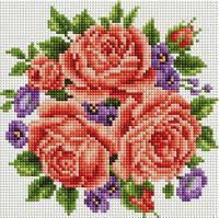 """Алмазная вышивка-мозаика """"Розы и фиалки"""" (200х200 мм)"""