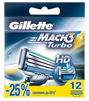 "Кассета для станка ""Gillette Mach3 Turbo"" (12 шт)"