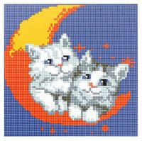 "Алмазная вышивка-мозаика ""Котята на луне"""