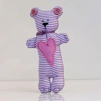 """Кукла ручной работы """"Медвежонок"""" (сиреневый полосатый)"""