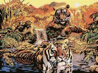 """Картина по номерам """"Семья тигров"""" (400х500 мм)"""