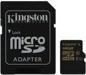 Карта памяти micro SDHC 16Gb Kingston Class 10 UHS-I U1  R/W 90/45 MB/s с адаптером (SDCA10/16GB)