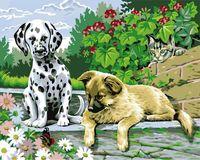 """Картина по номерам """"Щенячье любопытство"""" (400х500 мм; цветной холст)"""