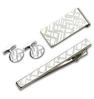 Набор. Заколка для галстука, запонки, зажим для денег (цвет: серебристый, с гравировкой, EG-16469)