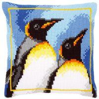 """Вышивка крестом """"Подушка. Королевские пингвины"""" (400х400 мм)"""