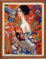 """Вышивка крестом """"Густав Климт. Дама с веером"""" (260х340 мм)"""