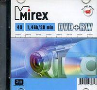 Диск DVD+RW 8см 1.4Gb 4x Mirex Slim (в упаковке 5 штук)