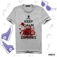 "Футболка серая унисекс ""Kill Zombies"" (L; арт. 134)"