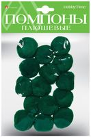 Помпоны плюшевые (15 шт.; 35 мм; зеленые)
