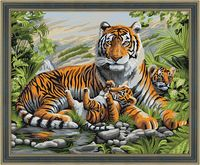 "Картина по номерам ""Тигриная семья"" (400х500 мм)"
