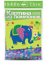 """Аппликация из помпонов """"Слон"""""""
