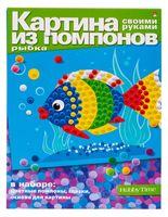 """Аппликация из помпонов """"Рыба"""""""