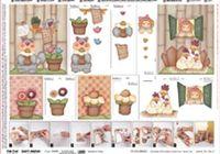 """Бумага для декупажа """"Деревенские куры и Садовый кот"""" (техника 3D, 50×70 см)"""