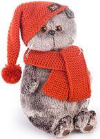"""Мягкая игрушка """"Басик в вязаной шапке и шарфе"""" (19 см)"""