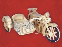 """Сборная деревянная модель """"Мотоцикл с коляской"""""""